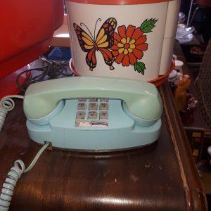 Téléphone vintage bleu